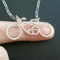 Bicycle Necklace all sterling silver by PianoBenchDesigns on Etsy