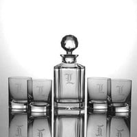 Personalized Crystalize Engraved Crystal Whiskey Decanter Set