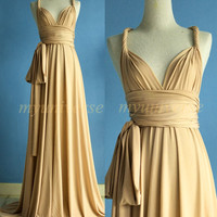 Champagne Bridesmaid Dress Wrap Beige Convertible by myuniverse