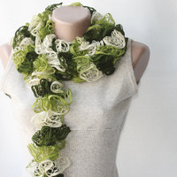Green Knit Scarf Winter Accessories Fall Spring Fashion Hunter Lime