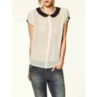Black Collar Transparent Chiffon Shirt White - Shirts - Apparel
