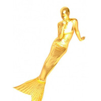 Shiny Metallic Gold Mermaid Trumpet Zentai Suit - Mermaid Suits [TSS11030] - &amp;#36;40.99 : Zentai, Sexy Lingerie, Zentai Suit, Chemise