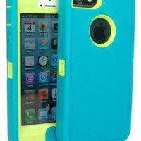 Iphone 5 Defender Body Armor Case Teal on Punk Green Comparable to Otterbox Defender Series + Save the Ta Tas Silicone Bracelet and Cube Charger:Amazon:Cell Phones & Accessories
