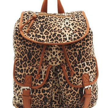 Leopard Print Canvas Backpack: Charlotte Russe