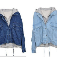L 073003 Detachable hooded casual jacket denim, two pieces