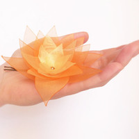 Orange ombré organza flower bobby pin with Swarovski
