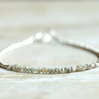 Rough diamond bracelet: sparkling gray raw uncut diamond beaded bracelet with silver Karen Hill tribe beads - April birthstone jewelry