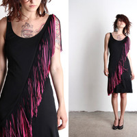 1960s Fringe Dress . Lilli Diamond LBD.  Swinging 60s MOD. Designer Vintage