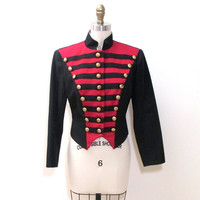 1970s Military Style Cropped Marching Band Jacket Red and Black with Gold Buttons  XS/S