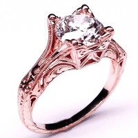 Engagement Ring - Vintage Petite Hand Engraved Rose Gold Filigree Engagement Ring - ES848