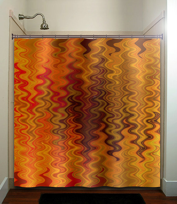 fire tapestry flame orange brown chevron shower curtain bathroom decor ...