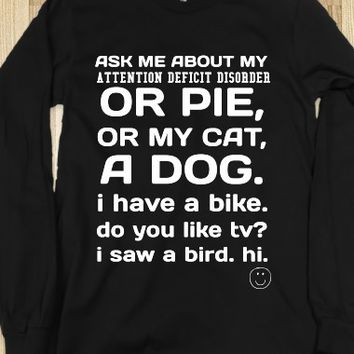 ASK ME BLACK LONG SLEEVE TEE T SHIRT
