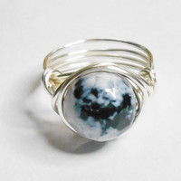 Fire Agate Facet Gemstone Black Blue White Silver Wire Wrapped Ring