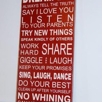 Family Rules Subway Style Wood Sign by SweetDesignsBoutique