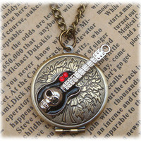 Steampunk Skull Guitar Locket Necklace Vintage by sallydesign