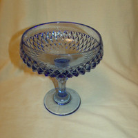 Compote Indiana Glass Blue Diamond Point