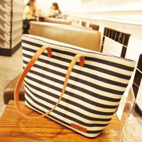 Navy Blue and White Striped Canvas Bag by deniserose on Zibbet