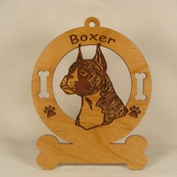1948 Boxer Head Uncropped Personalized Wood Ornament