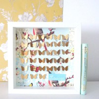 Limited Edition Gold Butterflies On Prestige Vintage Background. FRAMED | Luulla