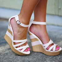 Back In Trouble Wedges: Light Pink | Hope's