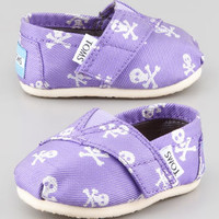 TOMS Purple Grosgrain-Skull Slip-On, Tiny