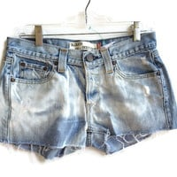 Bleached Levi Denim Shorts Low Waisted Jean Shorts Boho Hipster
