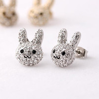 rabbit stud earrings by bythecoco on Etsy