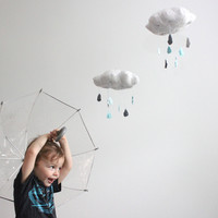 Cloud Mobile - Tut, tut it looks like rain in gray, light blue, aqua, charcoal grey and white