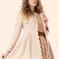 Goodbye Kiss Scallop Edge Coat in Beige by Qbily | Sincerely Sweet Boutique