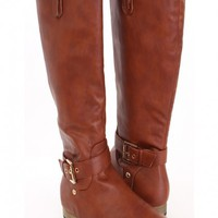 Cognac Faux Leather Buckle Accent Riding Boots