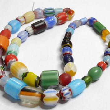 Chevron Glass Multicolor Beads Strand