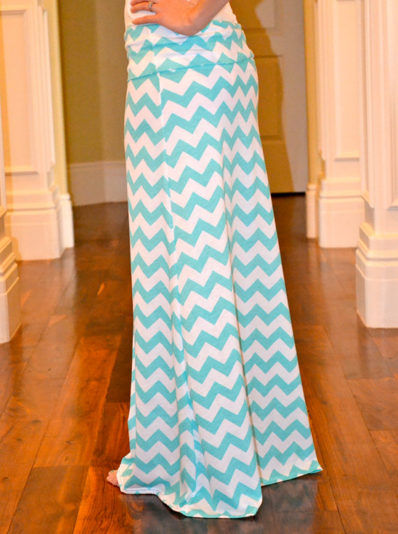 blue and white chevron maxi skirt from