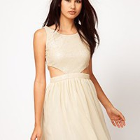 Rare | Rare Sequin Cut Out Dress With Chiffon Skirt at ASOS