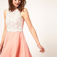 River Island | River Island Lace Panel Skater Dress at ASOS