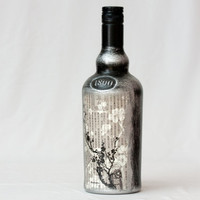 Rustic Decoupage Bottle Upcycled Whiskey Bottle by BeauMiracle