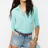 Chiffon Pocket Blouse in Clothes Tops at Nasty Gal
