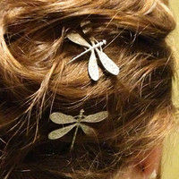 Silver Dragonfly Bobby Pins Set of Two by glamMKE on Etsy