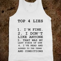 """TOP 4 LIES"" GRAPHIC TANK"