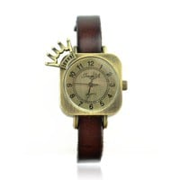 JingYi Women's Square Watch with Cute Crown Color Brown