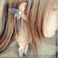 Enchanted Fairy Ear Cuff Ornate Filigree with Chains and Vintage Sequins Non  pierced No pierce