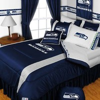 SEATTLE SEAHAWKS QUEEN 5 PIECE BEDDING SET Boy Football NFL bag