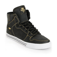 Supra Vaider Black Satin TUF & Gold Shoe at Zumiez : PDP