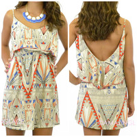 Carnival Cruise Geometric Deep V Dress
