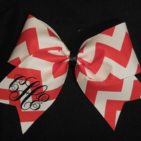 Chevron Cheer Bow with Monogram by AlexaPaisleyDesigns on Etsy