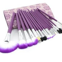 Makeup Brushes - Top Professional Cosmetic Purple 18 Piece Brush Set with Best Organizer Case - The Secret to Being Beautiful - Satisfaction Guaranteed