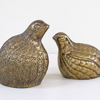 2 vintage brass quail bookends table top by KatyBitsandPieces