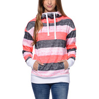 Empyre Girls Isabel Coral Stripe Pullover Tech Fleece Jacket at Zumiez : PDP