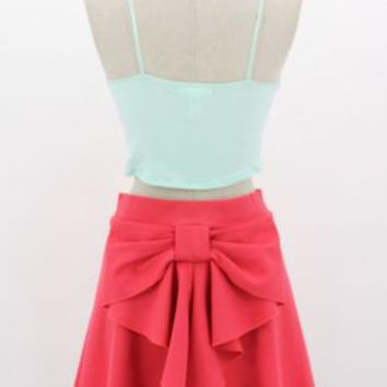 Bow Detailed Short Aline Skirt