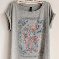 Cotton T-shirt with Walking Elephant Print Grey GJNA349 from topsales