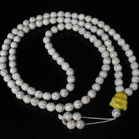 Tibet White Turquoise Stone 10mm 108 Beads Yellow Happy Buddha Beaded Buddhism Prayer Mala Necklace